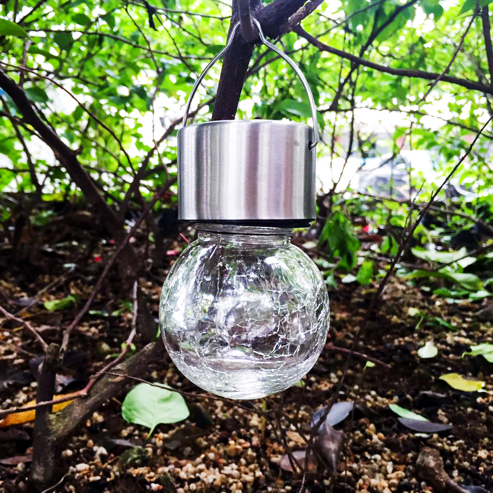 Led pendant Solar lantern lamp christmas tree crackle glass Jar RGB ...