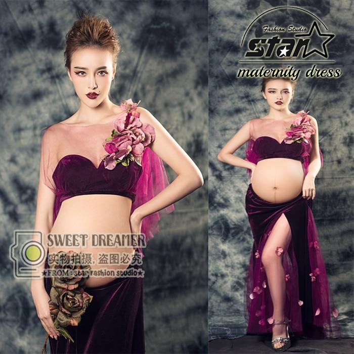 ФОТО Purple Maternity Gown Lace Mesh Long Dress Pregnant Photography Props Fancy Photo Shoot Maternity Long Dress
