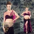 Purple Maternity Gown Lace Mesh Long Dress Pregnant Photography Props Fancy Photo Shoot Maternity Long Dress
