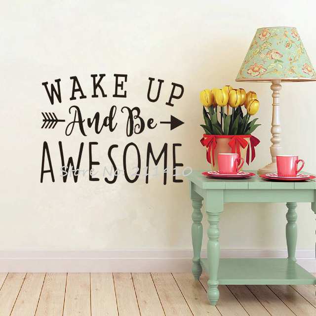 Inspirational wall decal quotes wake up and awesome wall stickers home decor living room custom made