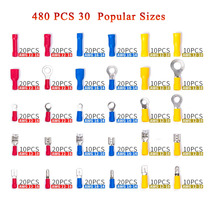 цена на 480Pcs Insulated Wiring Terminals Wire Connectors Assortment Electrical Crimp Terminals Kit Crimp Connectors Cable Terminal