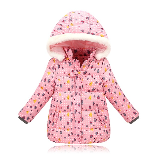 6bc1e50f62d0 2017 Baby Girls Kids Cartton Printing Jacket Polyester Coat Spring ...