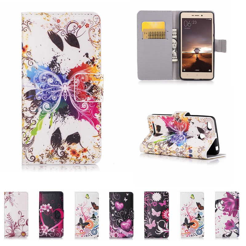 Butterfly Leather Phone Case Wallet Cover For Xiaomi Mi A1 A2 5X 6X Redmi 4A 5A 3S 3X 5 Plus Redmi Note 3 4 4X 5A Back Cover ...