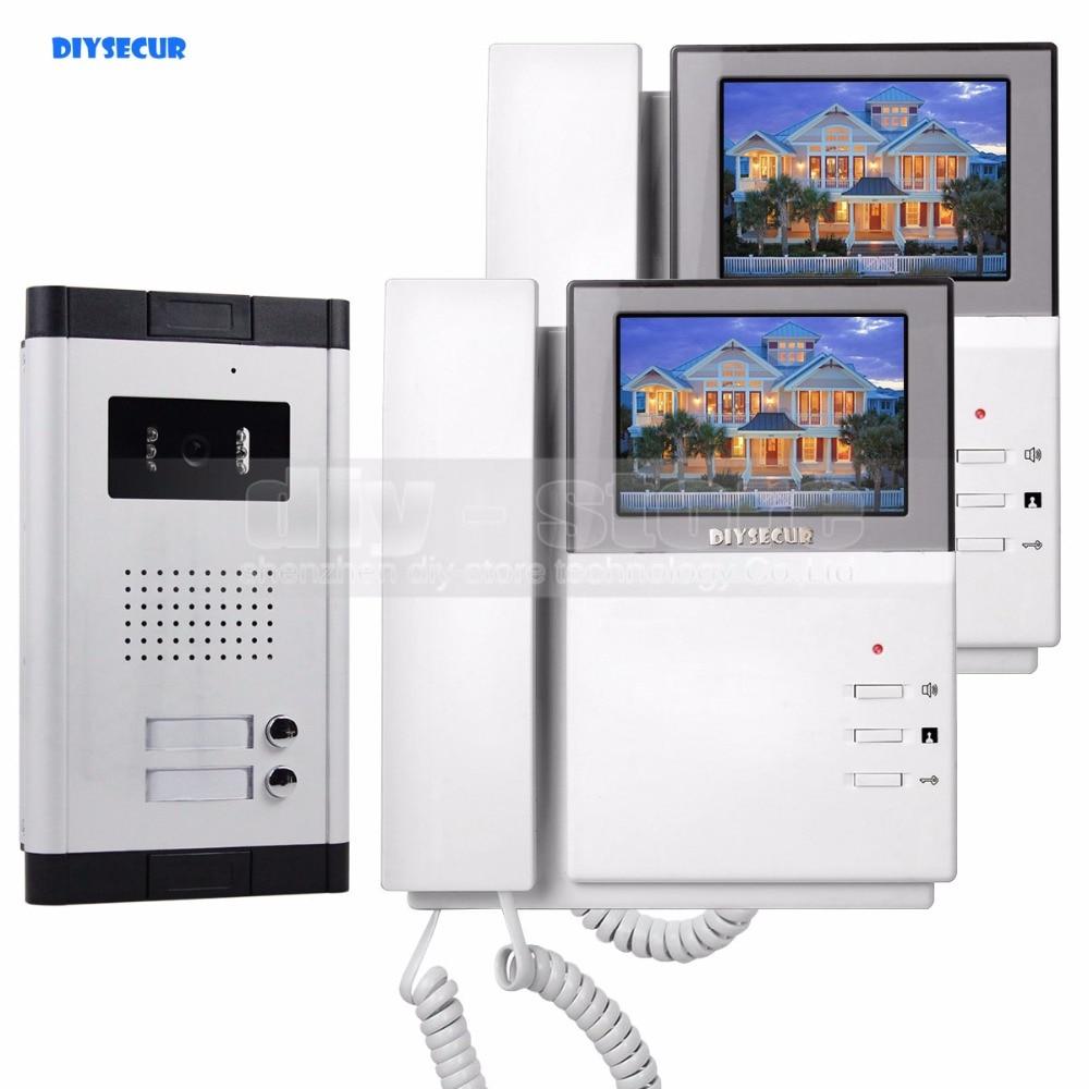 DIYSECUR 4.3 Apartment Video Door Phone Video Intercom Doorbell System 700 TVLine IR Camera Touch Key for 2 Families my apartment
