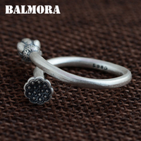 BALMORA Vintage Lotus Flower Bud 990 Pure Silver Open Rings For Women Gift Flower Ring Thai