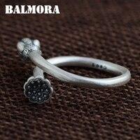 BALMORA Vintage Lotus Flower Bud 990 Pure Silver Open Rings For Women Gift Flower Ring Thai