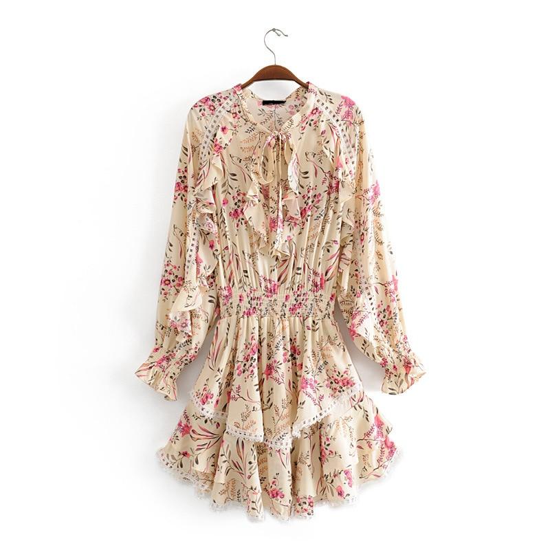 2019 Summer women s ruffled stitching lace dress floral chiffon ladies dress long sleeve elastic waist