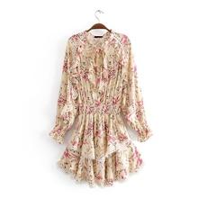 2019 Summer women's ruffled stitching lace dress floral chiffon ladies dress long sleeve elastic waist dress недорого