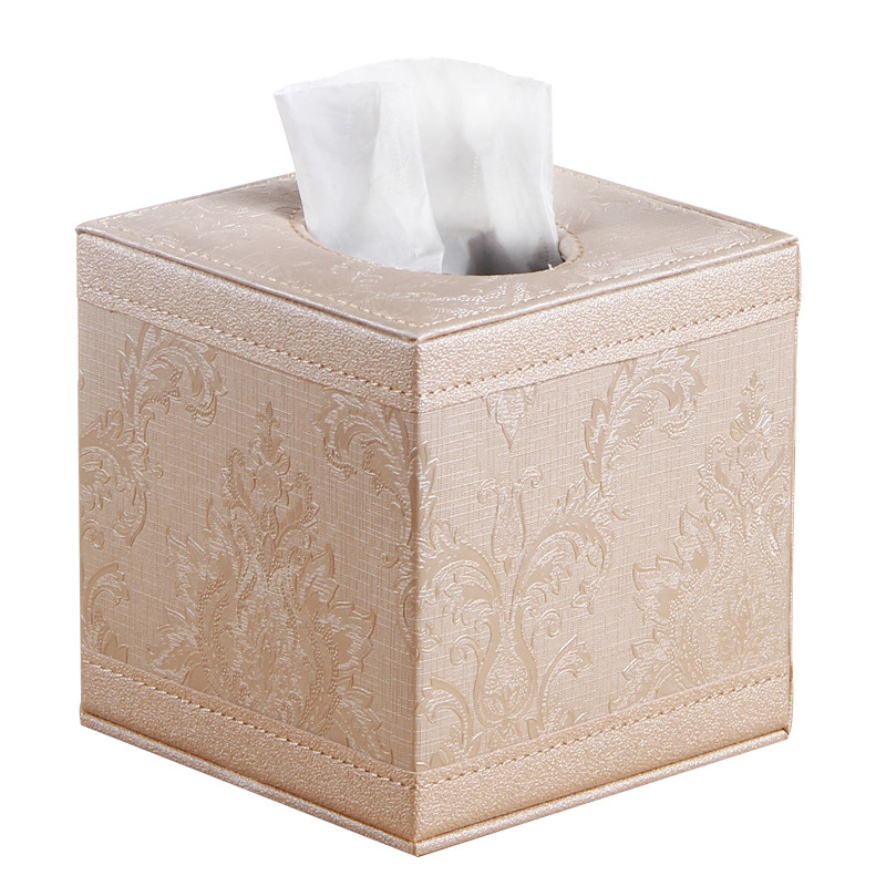 Vintage style PU leather tissue box table napkin pumping paper box fashion