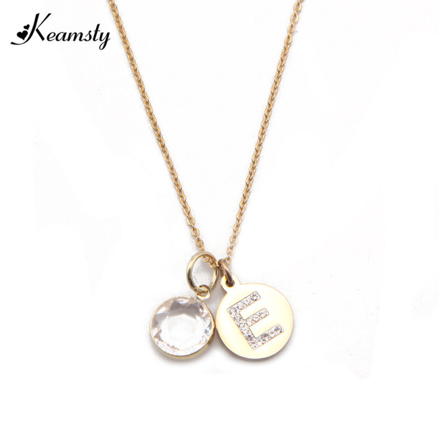 Keamsty initial alphabet necklace set crystal letter e disc pendant keamsty initial alphabet necklace set crystal letter e disc pendant with 12 colors birthstone 45cm stainless aloadofball Choice Image