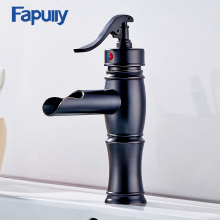 Basin Faucet Oil Rubbed Bronze Sink Faucet Bathroom Tub Waterfall Faucet Single Handles Mixer Cold Hot Waterval Kraan Tap 038B-1 modern waterfall spout oil rubbed bronze bathroom sink faucet mixer tap square handles basin faucet