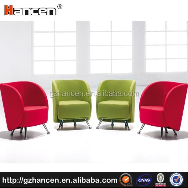 Single Sofa Set Designs: Modern Colorful Single Seater Fabric Office Sofa Set