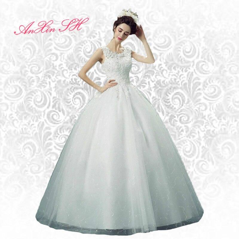 AnXin SH fleur perspective Dentelle Princesse Mariée Robe de mariage en  cristal mince blanc nouveau o cou printemps perles de mariage robe J220 5a9a6a5f33d5
