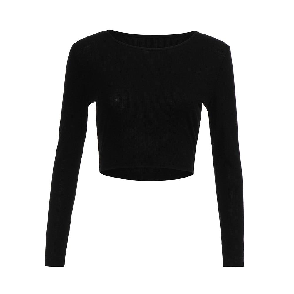 Ladies Women Tight Elastic Pullover T-Shirt Long Sleeve Crop Tops Shirt Blouse A