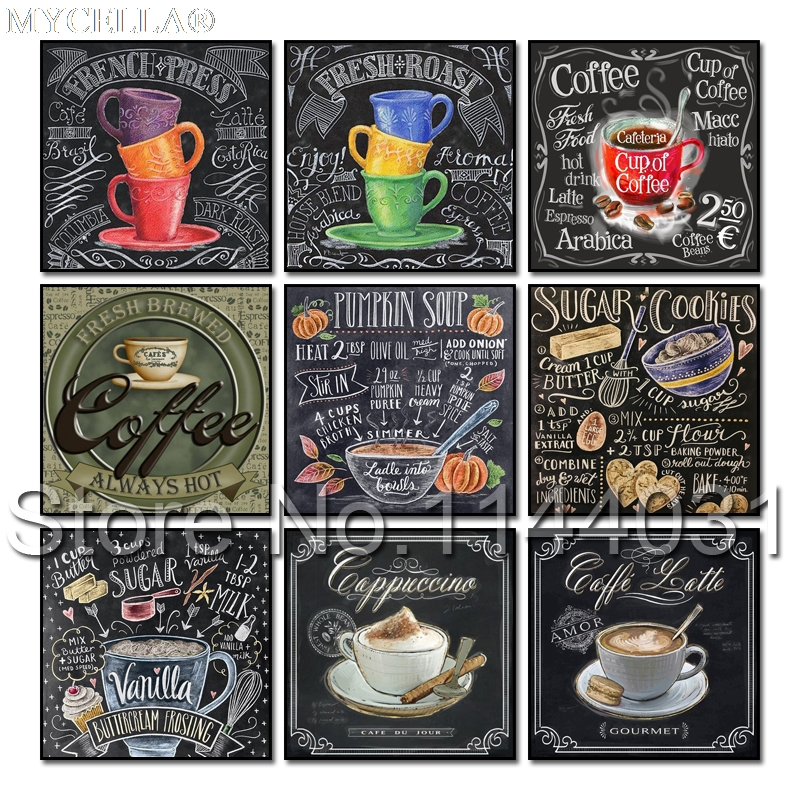 Chalkboard Sign 5D Diy Diamond Painting Cross Stitch Coffee Lover Text Needlework Diamond Embroidery Pattern Crafts Home Decor