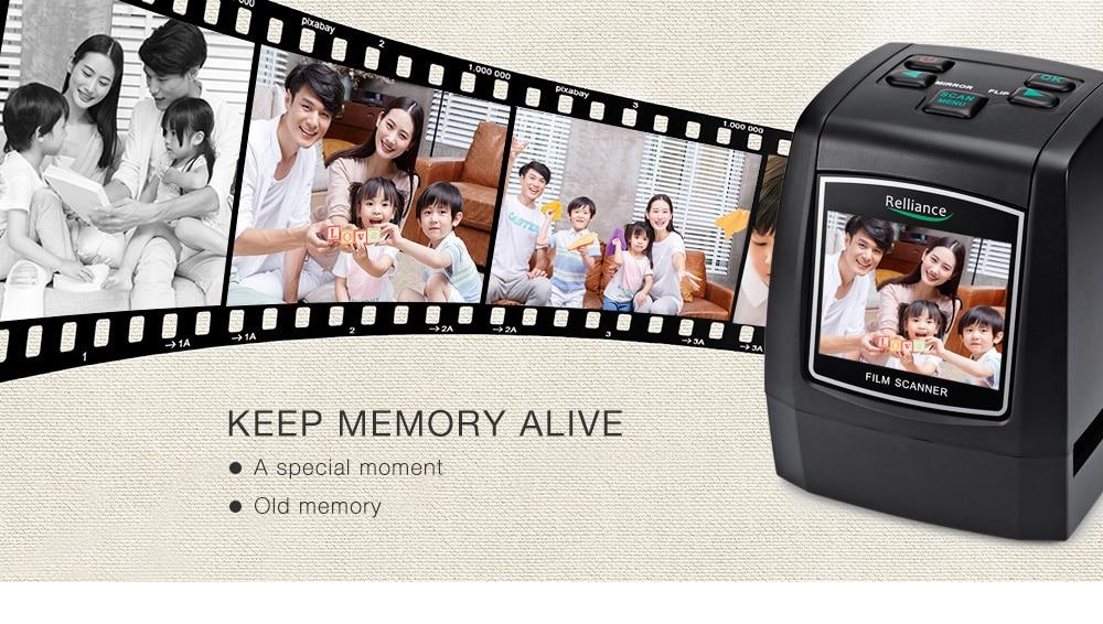 Relliance EC018 Film Scanner High-resolution Film Slide Scanner CMOS 35mm,110/135/126KPK/Super 8 films USB 2.4 TFT LCD Black 16