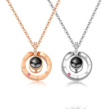 The 100 languageI love you Stainless Steel Round Pendants Necklaces For Women Charm Rose Gold/steel Girls collar Jewelry Gift gold stainless steel you
