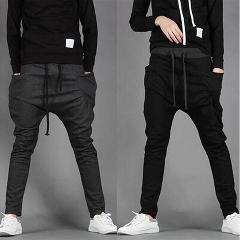 2018 New Trend Men Casual Pants High Quality Hip Hop Harem Outwear Pants Big Pockets Solid Sweatpants 8 Colors Mens Joggers