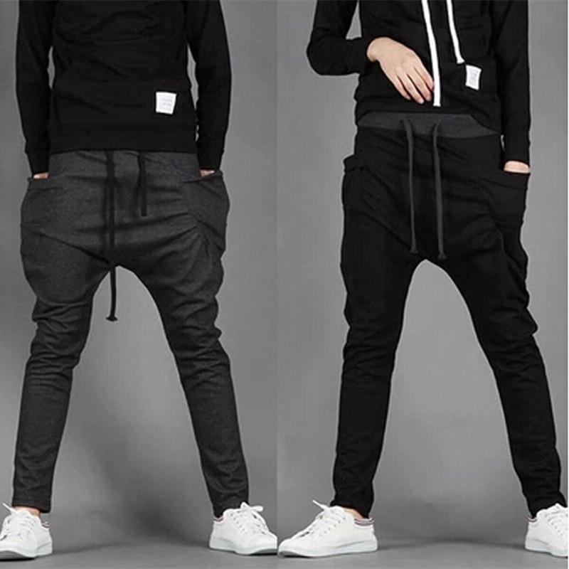 2018 New Trend Men Casual Pants High Quality Hip Hop Harem Outwear Pants Big Pockets Solid Sweatpants 8 Colors Mens Joggers