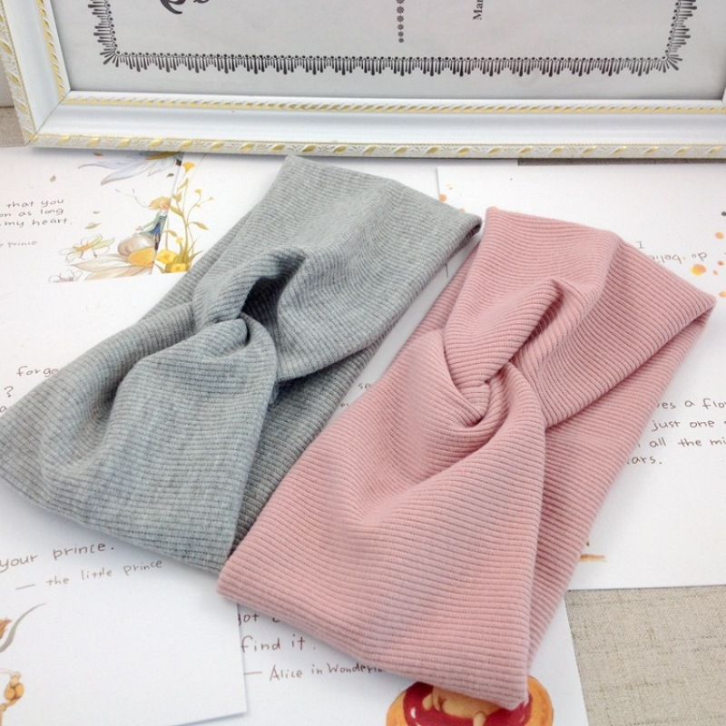 Autumn Winter Knitted Headband Women Hair Accessories Retro Twisted Elastic Wide Hair Scarf Hairband Solid Head Band   Headwear