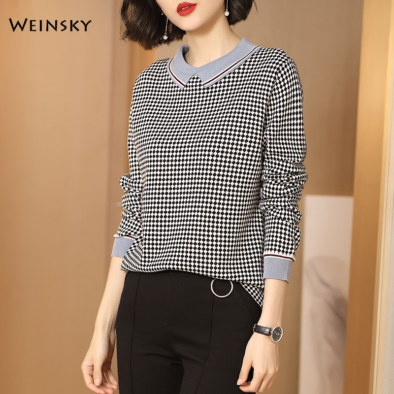 Women Knitted Wool Sweater And Pullovers Korean Fashion Style Elegance Jumper Sweaters Winter And Autumn 2019 New Tops