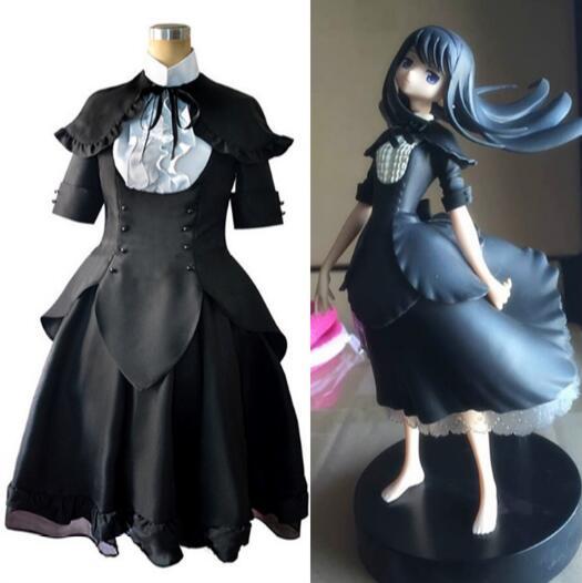 Anime Puella Magi Madoka Magica cosplay Akemi Homura cos Halloween cartoon girls Gothic black dress palace cosplay costume