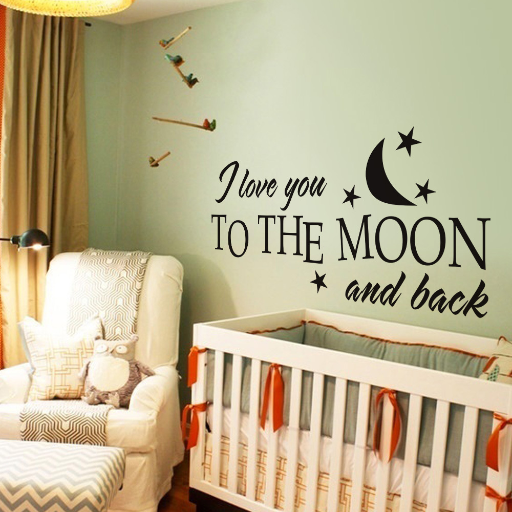 I Love You To The Moon And Back Romantic Love Vinyl Wall