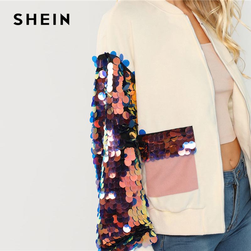 SHEIN White Highstreet Elegant Contrast Sequin Sleeve Pocket Front Zipper Up Jacket Autumn Casual Fashion Women Coat Outerwear 8