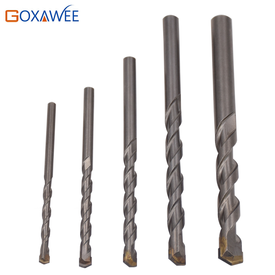 цена на GOXAWEE 5PC Tungsten Carbide Drill Bit Set for Masonry Concrete Drilling Power Tool Accessories Drilling Bits Set