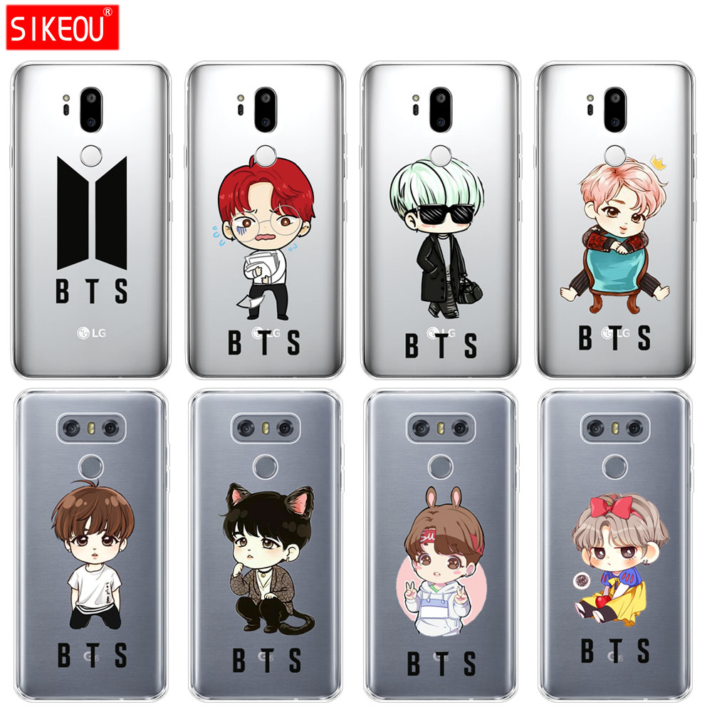 buy online 1832b 5d475 US $2.45 |silicone case phone cover for LG G7 Q8 Q6 G6 MINI G5 V30 V7 V9  k10 k8 X POWER 2 BTS cute cartoon Jimin J hope-in Fitted Cases from ...