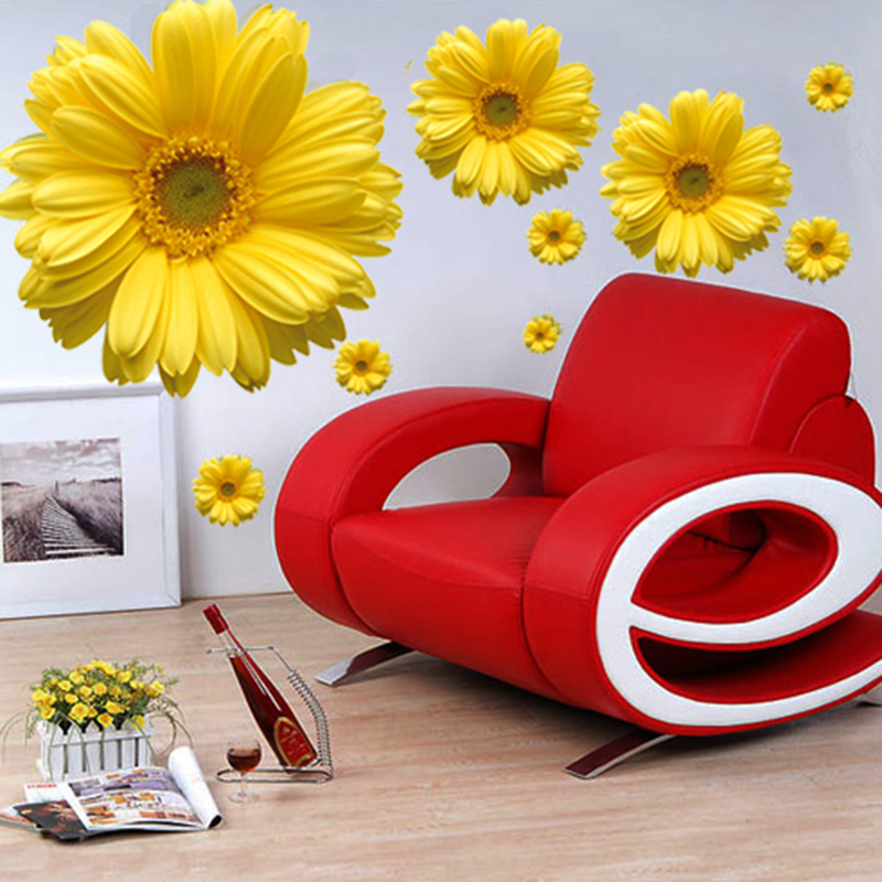 2018 Yellow Chrysanthemum Flowers Wall Sticker 3d Diy
