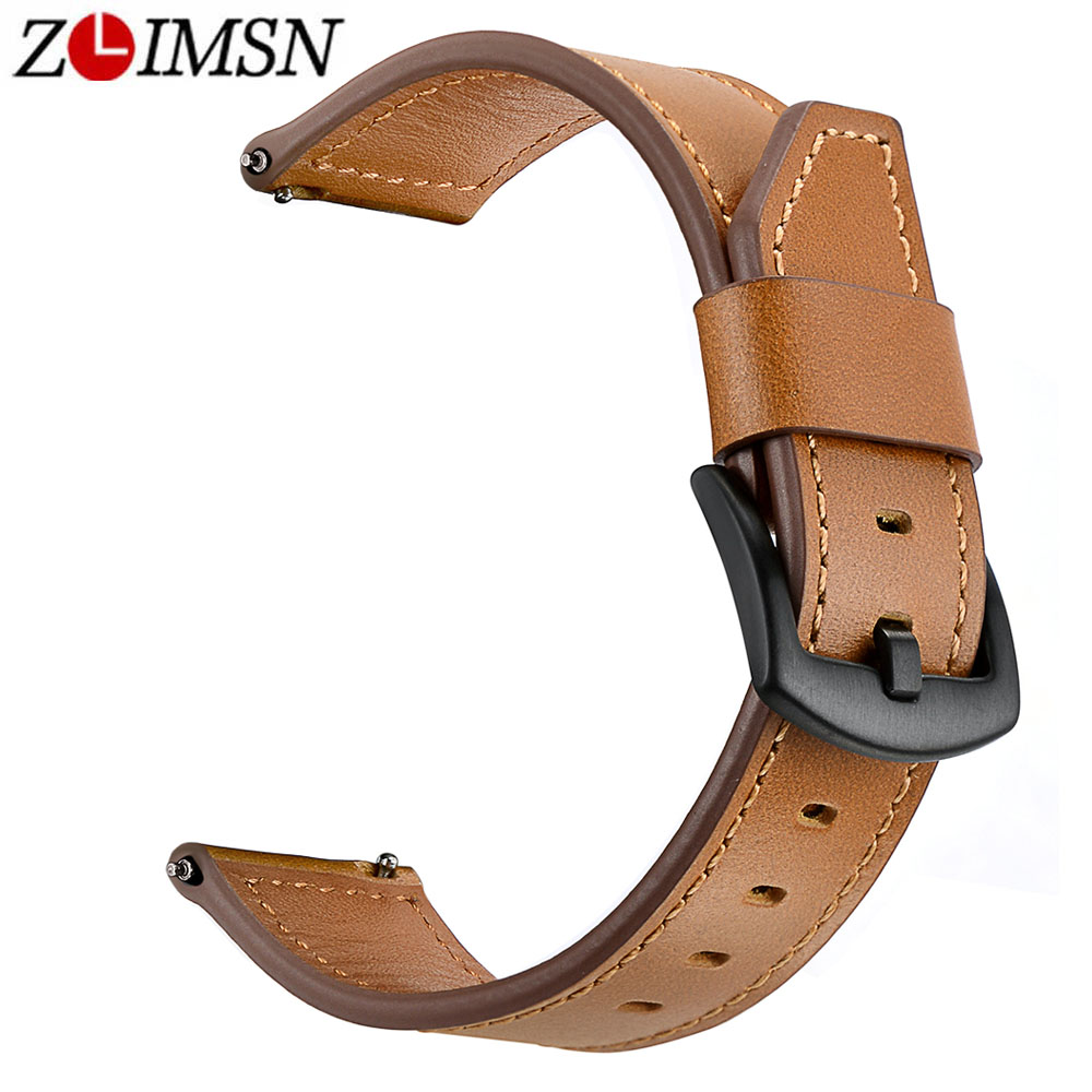 ZLIMSN New Cow Leather Watch Band Black watch strap Men's Women 22mm Applicable for Universal series Watches Accessories strap