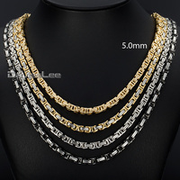 Personalized 5mm Mens Boys Byzantine Box Gold Tone Stainless Steel Necklace Chain Gift Promotion Wholesale Jewelry