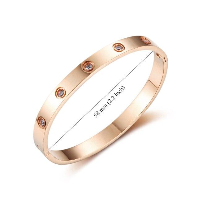 Love Bracelets Screw Bracelets For Women Stainless Steel Bracelets & Bangles Crystal Gold Color Women Jewelry Gift (BA101759) 2