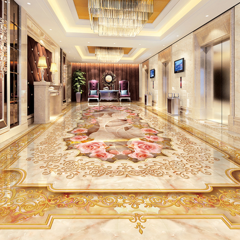 Custom 3d Floor Murals Imitation Marble Flower Pattern