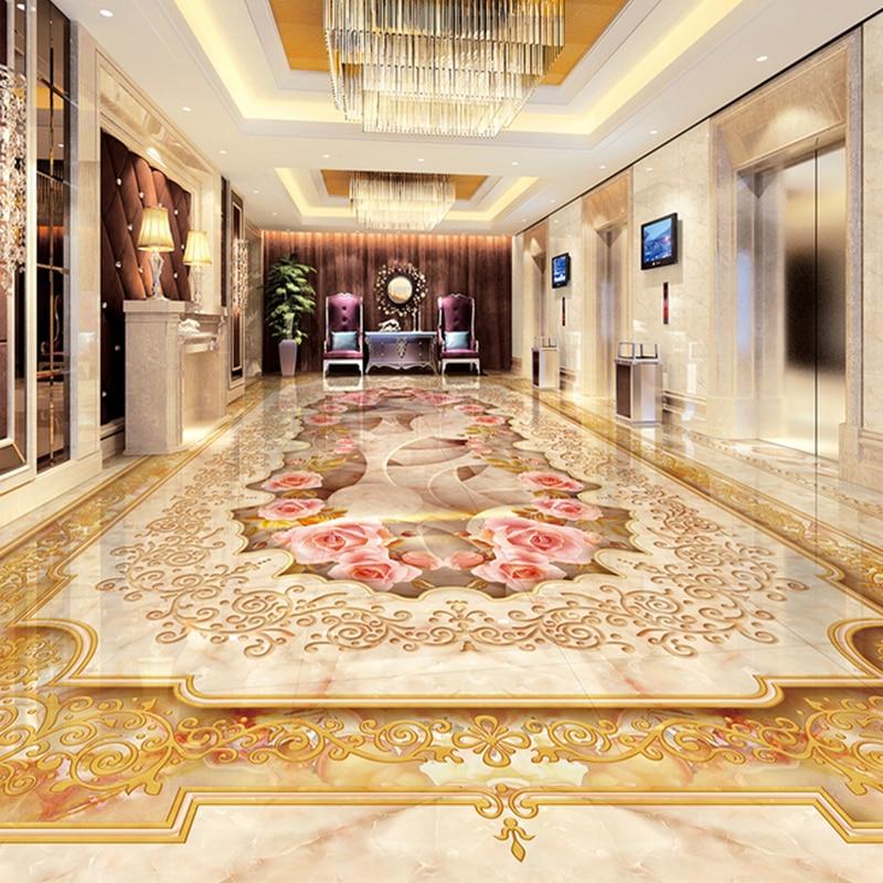 custom 3d floor murals imitation marble flower pattern luxury living room hall floor tiles sticker mural self adhesive wallpaper