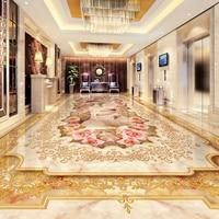 Custom 3D Floor Murals Imitation Marble Flower Pattern Luxury Living Room Hall Floor Tiles Sticker Mural