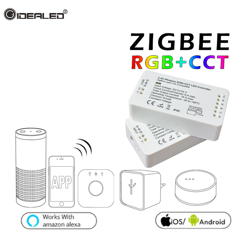 Home ZIGBEE RGBW CCT bridge LED Strip Controller Smart Wireless 6A RGB Strip Controller Work with Alexa Echo plus OSRAM Lightfy home smart zigbee strip controller work with amazon alexa voice control waterproof rgb strip light hue wireless controller