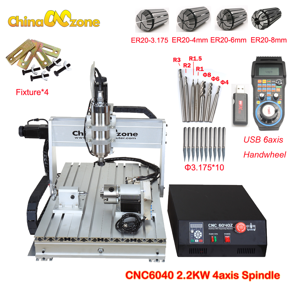 Cnczone 6040 2.2KW 3/4axis CNC Router Wood Carving Machine USB Mach3 Control