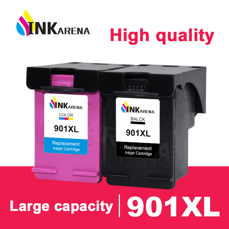 INKARENA Refill Kit Replacement For <font><b>HP</b></font> <font><b>901</b></font> <font><b>XL</b></font> Ink Cartridge Officejet 4500 J4500 J4580 J4550 J4680 J4524 Printer Cartridges image