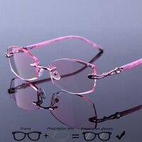 ab1e9e49fe Luxury Rimless Prescription Glasses Women Myopia Optical Eyewear Presbyopia  Multi Focus Photochromic Progressive Eyewear N8302