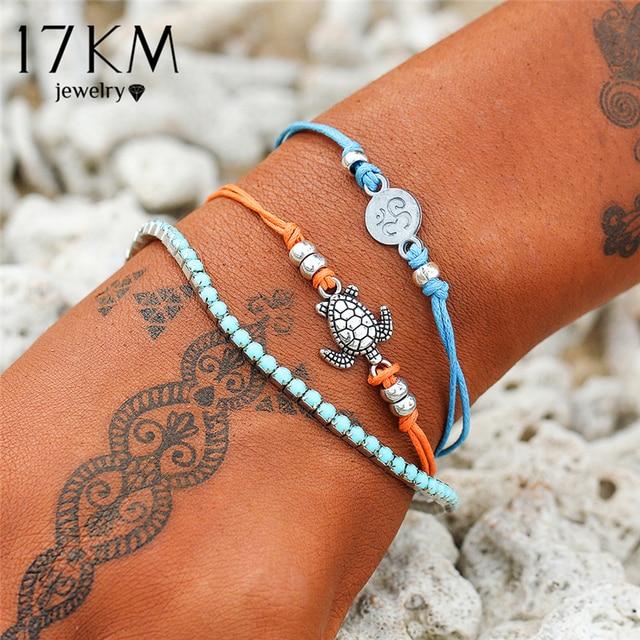 17KM Vintage Multiple Layers Turtle Bracelets For Woman Girl Bohemian Animal Bracelet Bangle Set Beach Jewelry Drop shipping