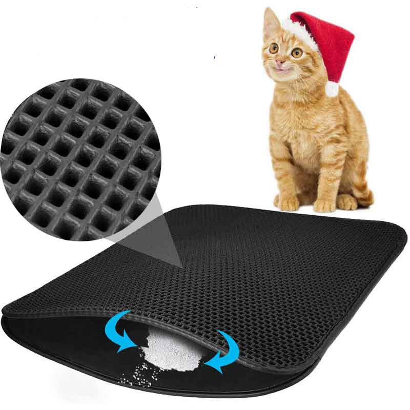 Waterproof Pet Cat Litter Mat Eva Double Layer Cat Tray Trap Mats Litter Litiere Trapping Pad Bottom Non slip Cats Accessories in Cat Beds Mats from Home Garden