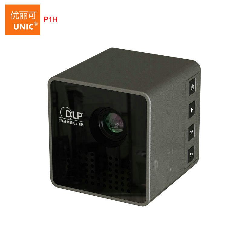 Prix pour 2017 Nouvelle Arrivée D'origine UNIC P1H P1 Micro LED Projecteur Beamer, Batterie Intégrée Mini Home Cinéma Jeu Vidéo Proyector