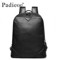 Padieoe 2017 Luxury Geniune Cow Leather Unisex Daypack Backpack Fashion Durable School Bag Bookbag Backpacks For
