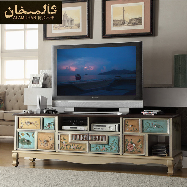 High Quality EMS FREE Modern Retro Coffee Table Combination Solid Wood TV Stands  European Living Room Bedroom TV