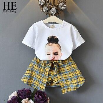 HE Hello Enjoy/комплект летней одежды для маленьких девочек, Модный комплект из двух предметов, футболка в консервативном стиле с мультяшным прин... >>
