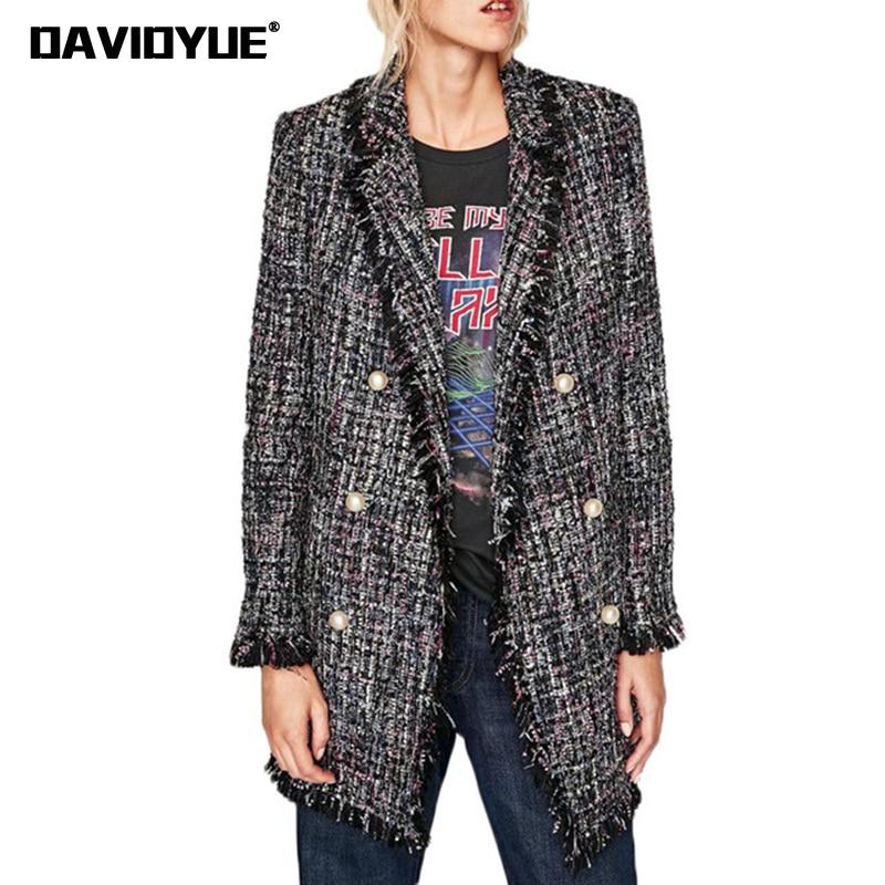Spring Women Blazers and Jackets Pearl Buttons Long Sleeve Ladies Blazers Feminino casual Long Sleeve Tweed coats Outwear 2018
