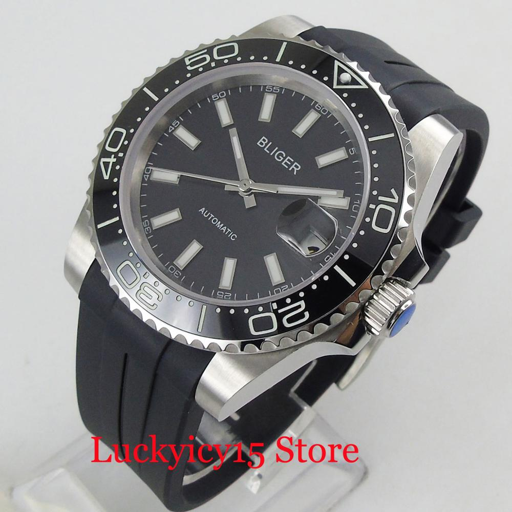 2019 New Arrival Round Black 40mm Automatic Men's Watch With Luminous Bezel Date Magnifier Sapphire Glass