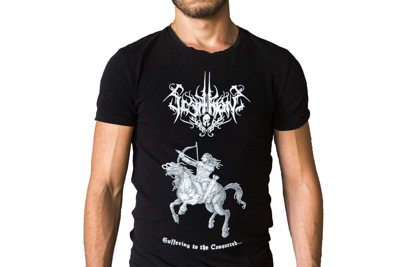 Scythian Suffering The Conquered Logo Song Inspired Black T-Shirt Men Cotton T-Shirt Printed T Shirt Top Tee Summer Style